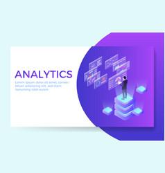 man interacting with virtual charts vector image