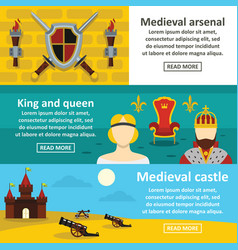 Medieval symbols banner horizontal set flat style vector