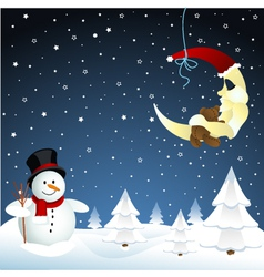 Moon and snowman winter vector