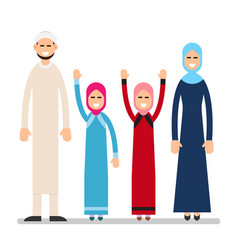 muslim family muslim arabic couple with children vector image