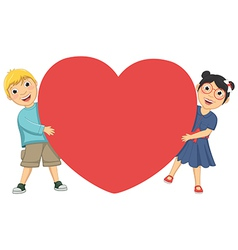 Of Cute Children Holding Heart vector image