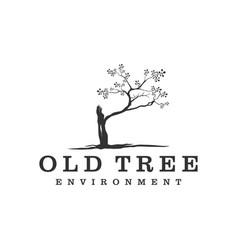 Old tree logo simple minimalist logo design vector