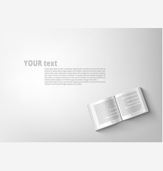 Open catalogue with text white background template vector