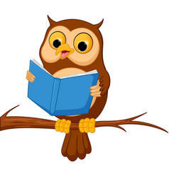 Owl cartoon reading a book vector