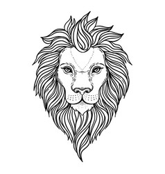 Patterned ornate lion head african indian totem vector