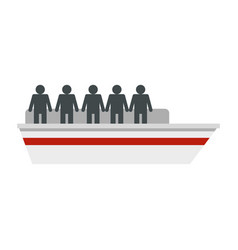People on ship icon flat style vector