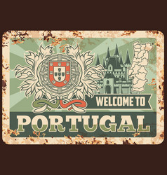 portugal rusty metal plate rust tin sign vector image