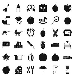 Preschool icons set simple style vector
