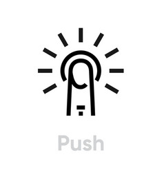 push icon editable outline vector image