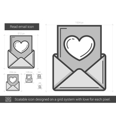 Read email line icon vector image