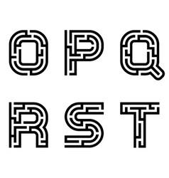 Real maze alphabet font letters - part 3 vector
