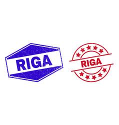 Riga unclean seals in circle and hexagon forms vector
