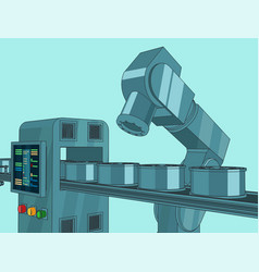 Robotic industrial factory line vector