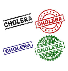 scratched textured cholera seal stamps vector image