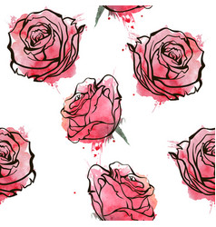 Seamless rose background vector