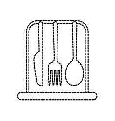set kitchen cutlery fork knife and spoon icon vector image