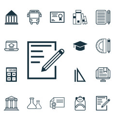 Set of 16 education icons includes certificate e vector