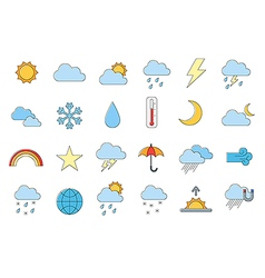 Set of 24 Weather forecast icons vector
