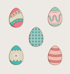 set of eggs painted easter icons vector image