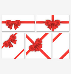 set of gift cards with luxury red bows decorative vector image