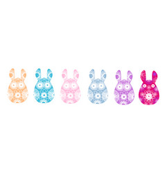 Set of rabbit silhouettes with a bright abstract vector