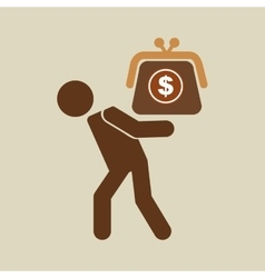 silhouette man financial crisis savings dollar vector image