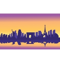 Silhouette of tourist collage vector image