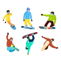 Snowboarder doing extreme tricks set vector