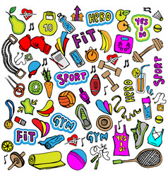 Sports hand draw icon and elements fitness and vector