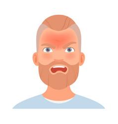 Strong anger on face a man with a beard vector