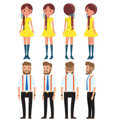 stylish businessmen and cute young girl set of vector image