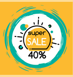 Super sale 40 percent off price promotional banner vector