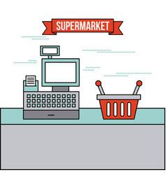 supermarket cash register basket shop vector image