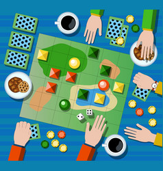 Table game flat lay composition with hands vector