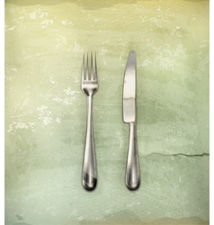 Table knife and fork old-style vector