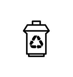 trash can with recycling symbol icon black vector image