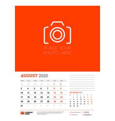 Wall calendar planner template for august 2020 vector