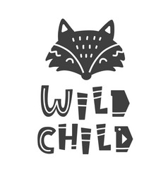 wild child scandinavian tribal poster vector image