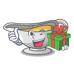 With gift cartoon sauce boat with turkey gravy vector