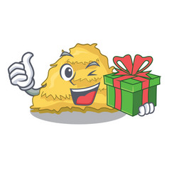With gift hay bale mascot cartoon vector