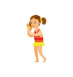 Woman listening seashell girl in dress vector