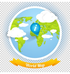 World Map with Marks and Web Elements Templ vector