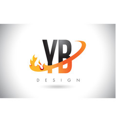 Yb y b letter logo with fire flames design vector
