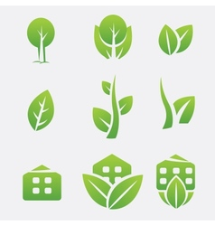 Green eco icons vector image vector image