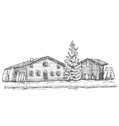 Hand drawn houses sketch Doodles tree vector image vector image