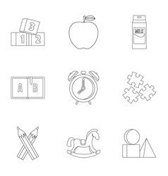 school time icons set outline style vector image