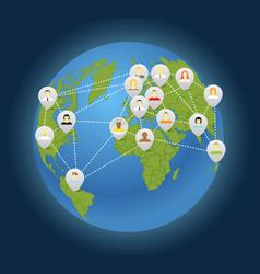 Social connection abstract scheme on globe vector
