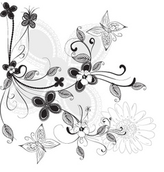 floral ink vector image vector image
