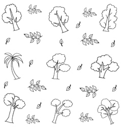 Hand draw various tree on doodles vector image