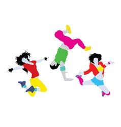 Happy Dancing Silhouettes vector image vector image